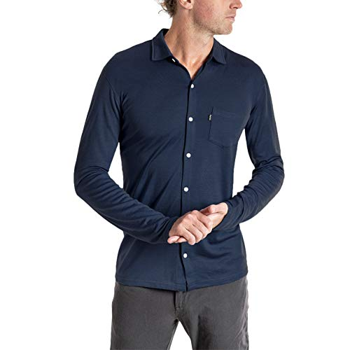Woolly Clothing Men's Merino Wool Long Sleeve Button Up - Wicking Breathable Anti-Odor S NVY