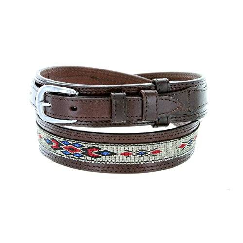 Mens Genuine Leather Ranger Belt with Southwestern Woven Diamond Pattern Accent (36 Brown)