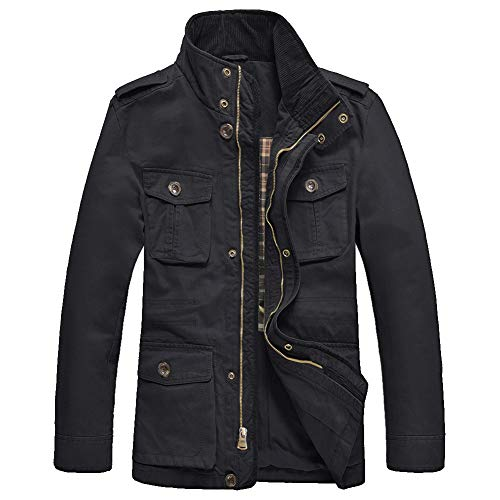 JYG Men's Casual Military Windbreaker Jacket Cotton Stand Collar Field Coat Outerwear (US X-Large, Black-0879)