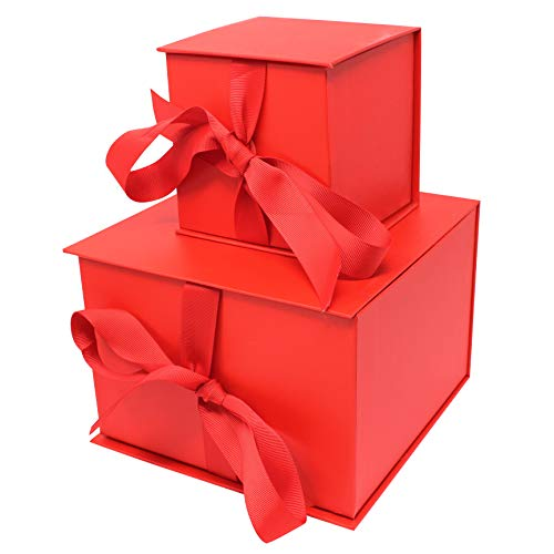 2 Red Gift Boxes with Filler Paper for Christmas Presents, Weddings, Engagements, Graduations, Xmas Holiday Wrap Box, Valentines Day Gift Wrapping Box