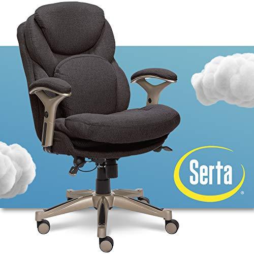 Serta Ergonomic Executive Office Chair Motion Technology Adjustable Mid Back Design with Lumbar Support, Dark Gray Fabric