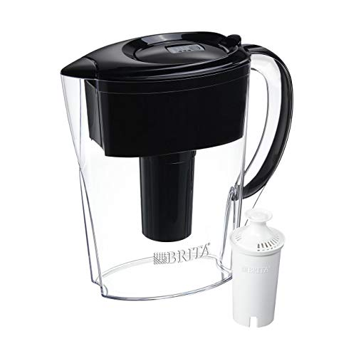 Brita 6 Cup Space Saver BPA Free Water Pitcher with 1 Filter, Black