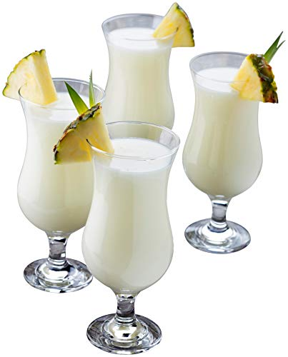 Epure Venezia Collection 4 Piece Hurricane Glass Set - Perfect for Drinking Pina Coladas, Cocktails, Full-Bodied Beer, Juice, and Water (Pina Colada (15.5 oz))