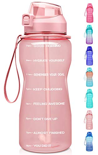 Fidus Large Half Gallon/64oz Motivational Water Bottle with Time Marker & Straw,Leakproof Tritan BPA Free Water Jug,Ensure You Drink Enough Water Daily for Fitness,Gym and Outdoor Sports-Light Pink