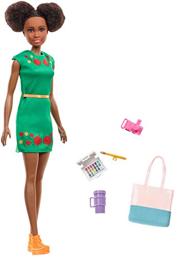 Barbie Travel Nikki Doll, Kitty Ear Brunette Hair, with 5 Accessories Including A Camera and Tote Bag, for 3 to 7 Year Olds