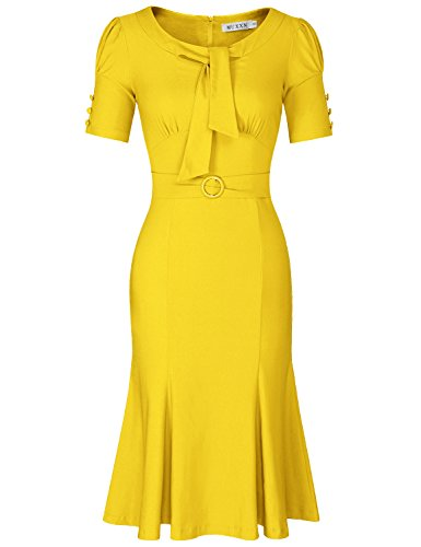 MUXXN Women's Solid Color Round Collar Belt Waist A Line Pencil Dress (Yellow M)