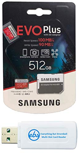 Samsung 512GB Evo Plus Class 10 MicroSD Memory Card Works with Galaxy Tablet Tab S5e, Tab S4 10.5, Tab 10.1 (2019), Book S (MB-MC512) Bundle with (1) Everything But Stromboli Micro Card Reader
