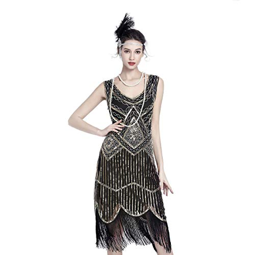 1920s Dresses for Women Flapper Dress Gatsby Dresses for Women 20s Costumes 1920 Great Gatsby Theme Roaring 20's Dress Black and Gold
