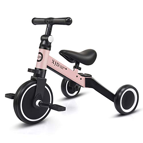XJD 3 in 1 Kids Tricycles for 1-3 Years Old Kids Trike 3 Wheel Toddler Bike Boys Girls Trikes for Toddler Tricycles Baby Bike Trike Upgrade 2.0, Pink