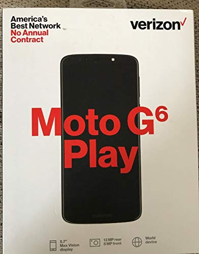 Verizon Prepaid Motorola Moto G6 Play MOTXT19226PP with 16GB Memory 5.7 IPS TouchScreen Fingerprint Android 8.0 Oreo OS Prepaid Cell Phone - Carrier Locked to Verizon Prepaid