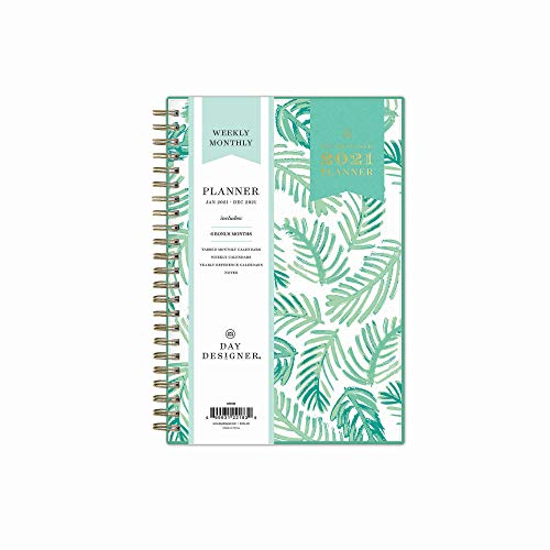 Day Designer for Blue Sky 2021 Weekly & Monthly Planner, Frosted Flexible Cover, Twin-Wire Binding, 5' x 8', Palms (122183)