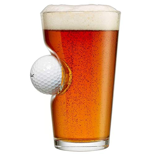 BenShot Pint Glass with Real Golf Ball Made in the USA