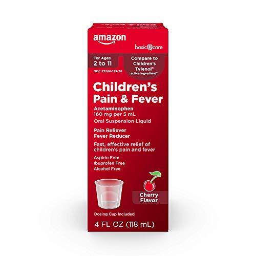 Amazon Basic Care Children's Pain & Fever Oral Suspension, Acetaminophen 160 mg per 5 mL, Cherry Flavor, 4 Fluid Ounces