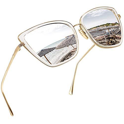 Joopin Oversized Cateye Sunglasses for Women, Fashion Metal Frame Cat Eye Womens Sunglasses (Silver)