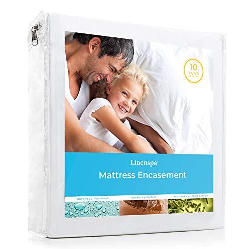Linenspa Zippered Waterproof, Dust Mite, Bed Bug Proof, Queen Size Hypoallergenic Breathable Protector, Mattress Encasement