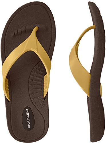Okabashi Marina Flip Flops (Medium / 6.5-7.5 B(M) US, Brown/Gold)