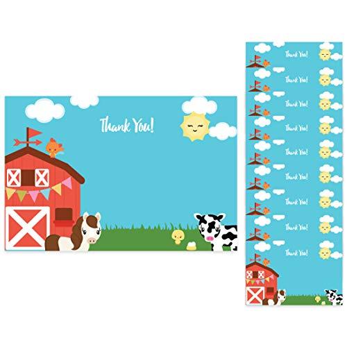 Farm Barnyard Thank You Cards (10 Count) With Envelopes Bulk Birthday Party Bridal Blank Graduation Kids Children Boy Girl Baby Shower (10ct. Thank You)