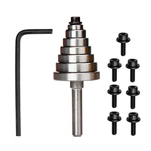 "Yakamoz 7PCS Multi-Rabbet Top Mounted Bearings Replacement Kit Rabbeting Router Bit Ball Bearing Guide Set | Inner Dia. 3/16"" & Overall Dia. 3/8', 1/2', 5/8', 3/4', 7/8', 1', 1-1/8'"
