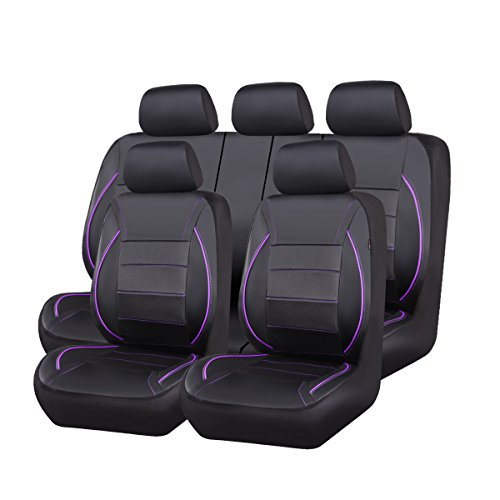 CAR PASS Universal FIT Piping Leather Car Seat Cover, for suvs,Van,Trucks,Airbag Compatible,Inside Zipper Design and Reserved Opening Holes (11PCS, Black and Purple)