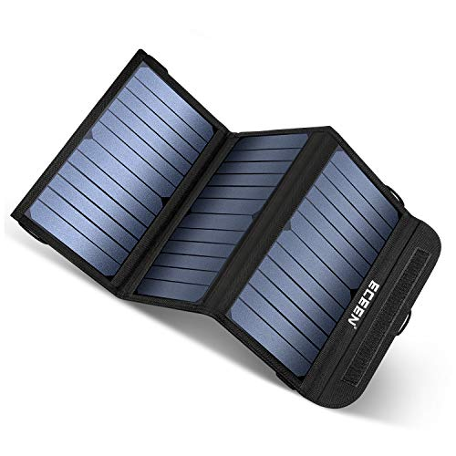 ECEEN Solar Charger 20W Portable Solar Panel Charger with 2 USB Output Ports Waterproof Foldable Camping Phone Sunpower Charger for Tablet GPS iPhone Ipad Camera and Any USB Devices