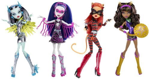 Monster High Power Ghouls Complete Bundle of 4: Voltageous, PolterGhoul, Cat Tastrophe, WonderWolf (Frankie Stein; Toralei Stripe; Clawdeen Wolf; Spectra Vondergeist)