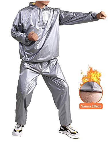 GOLD XIONG PADISHAH Heavy Duty Sweat Sauna Suits Exercise Gym Suit Full Body Anti-Rip Sweat Suits PVC Weight Loss Sauna Suit for Men Women | Windproof,Waterproof(Size 2XL,Silver)