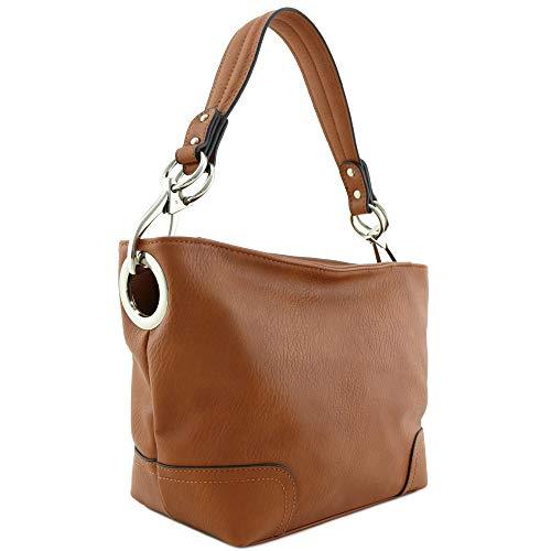 Hobo Shoulder Bag with Snap Hook Hardware Small (Light Brown)