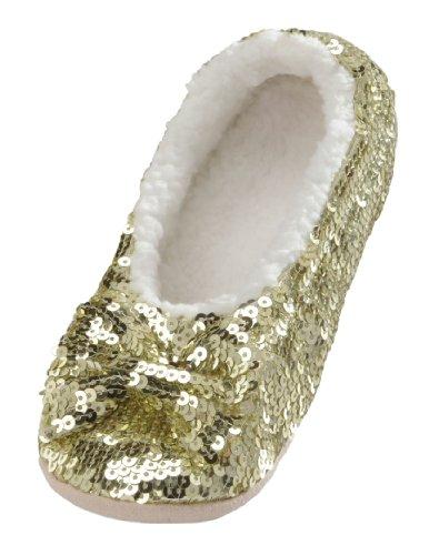 Snoozies Ballerina Bling Metallic Shine Women Slippers | Sequin House Slippers for Women | Slipper Socks with Grippers for Women | Cute Slippers for Women | Gold | Medium