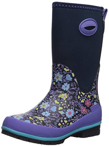 Western Chief Kids Girls' Cold Rated Neoprene Boot with Memory Foam Rain, Floral Fun, 12 US Little Kid