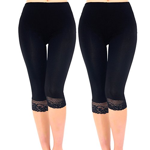 Liang Rou Women's Ultra Thin Stretch Cropped Leggings Black Lace Trim 2-Pack M Medium / 8/10 2-pack: Lace Trim/Lace Trim