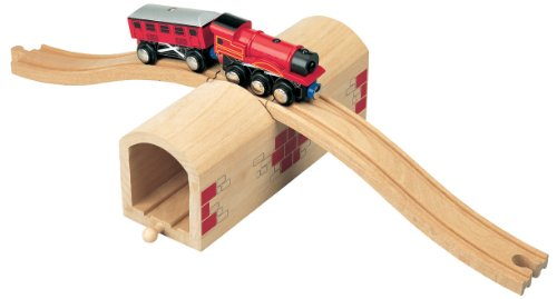 maxim enterprise, inc. Wooden Train Track Over & Under Tunnel Bridge | Easy-Connect Railway | Compatible with Thomas, BRIO, Melissa & Doug, KidKraft | Toys for Boys, Girls, Model:50430