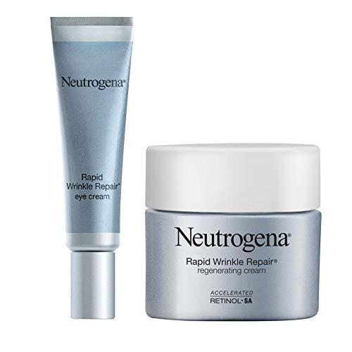 Neutrogena Rapid Wrinkle Repair Under Eye Cream with Retinol & Hyaluronic Acid, 0.5 oz & Rapid Wrinkle Moisturizing Regenerating Face & Neck Cream with Retinol, 1.7 oz