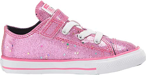 Converse Girls' Chuck Taylor All Star 1V Galaxy Glimmer Sneaker, Mod Pink/Obsidian/White, 9 M US Toddler