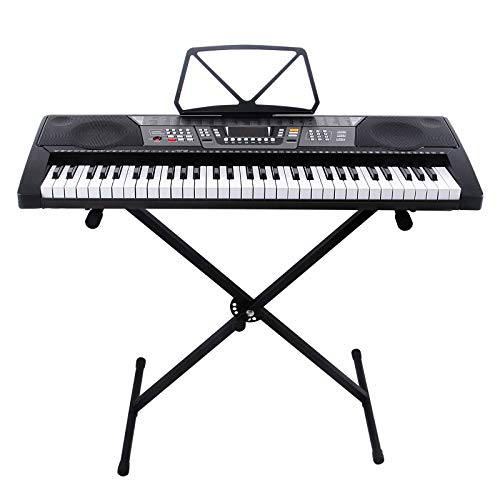 LAGRIMA 61 Key Portable Electric Keyboard Piano with Built In Speakers, LED Screen, USB/MP3 Input, Power Supply, Music Sheet Stand, Adjustable X Stand for Beginner (Kid & Adult) Black