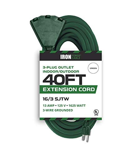 40 Foot Outdoor Extension Cord with 3 Electrical Power Outlets - 16/3 SJTW Durable Cable