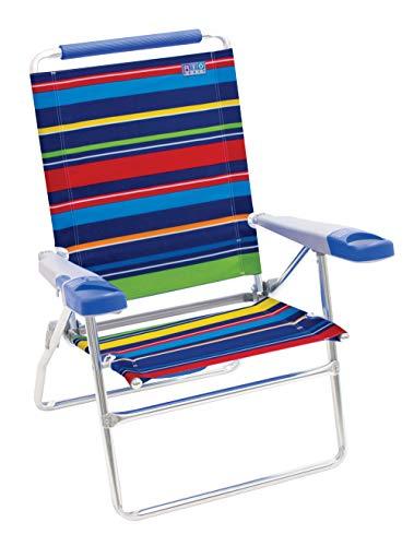 Rio Gear ASC615-1801-1 Beach 15' Extended Height 4 Position Folding Beach Chair - Pop Surf Stripes