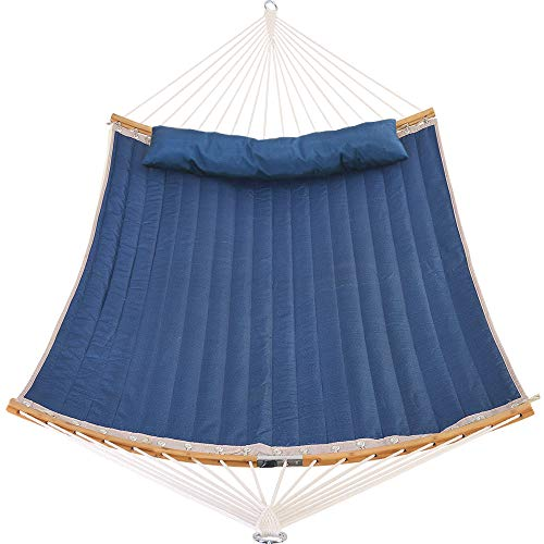 Patio Watcher 11 Feet Quilted Fabric Hammock with Curved-Bar Bamboo and Detachable Pillow, Double Hammock Perfect forOutside Outdoor Patio Yard Beach, Dark Blue