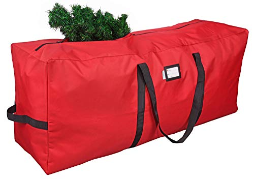 """Primode Christmas Tree Storage Bag   Fits Up to 7-8 Ft. Disassembled Holiday Tree   50"""" x 15"""" x 20"""" Tree Container   Durable 600D Oxford Material   Heavy Duty Xmas Storage Box (Red)"""