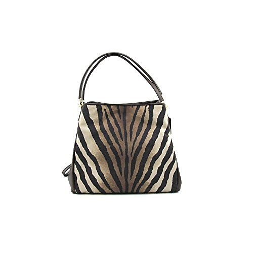 Coach Madison Zebra Print Small Phoebe Shoulder Bag 26636 Brown Multi