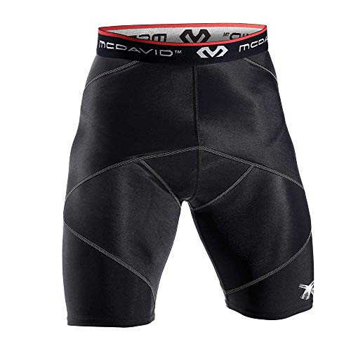 McDavid Cross Compression Shorts, Men's Performance Boxer Brief w/ Hip Flexor - thick compression material for recovery and support Black , Large
