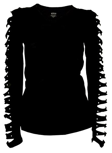 Bling Bling Long Sleeve Rhinestones T-Shirt Cut Out Ripped Top (Medium) Black