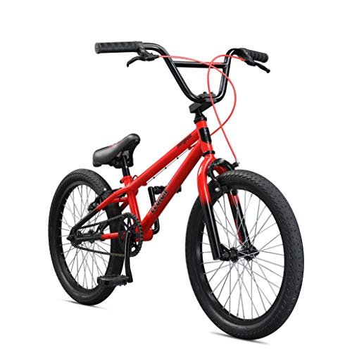 Mongoose Legion LSX Freestyle Sidewalk BMX Bike for-Kids, -Children and Beginner-Level to Advanced Riders, 20-inch Wheels, Hi-Ten Steel Frame, Micro Drive 25x9T BMX Gearing, Red (M51809M50OS-PC)