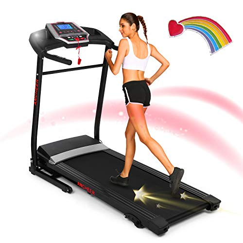 ANCHEER Folding Treadmill with Smartphone Sports APP,2.25HP Smart Electric Foldable Jog Walk Machine with 3 Level Manual inclines,Easy Assembly Exercise Machine for Small Spaces