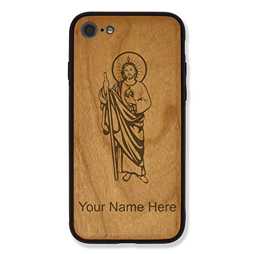 Case Compatible with iPhone 6 Plus and iPhone 6s Plus, Saint Jude, Personalized Engraving Included (Cherry Wood), Includes Screen Protector