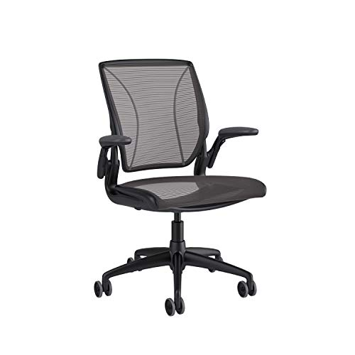 Humanscale Diffrient World Office Task Desk Chair - Adjustable Duron Arms - Black Frame Black Pinstripe Back and Seat Mesh W11BN10N10 - Carpet Casters