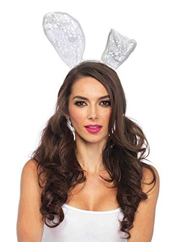 Leg Avenue Women's Bunny Ear Headband, White, O/S