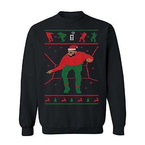 Santa Drake Hotline Bling Unisex Crewneck Dance Ugly Sweater Gift Sweater Black Medium