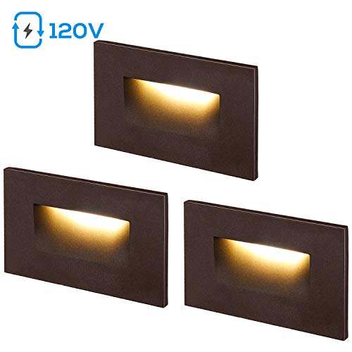LEONLITE 120V Dimmable LED Step Light, 3.5W 3000K Warm White, 150lm CRI 90, ETL Listed Indoor Outdoor Stair Light, Aluminum Waterproof Staircase Light, 5-Year Warranty, Oil Rubbed Bronze, Pack of 3