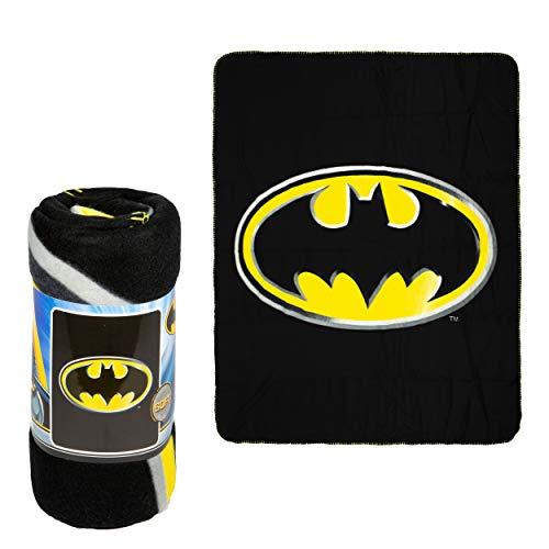 JPI Batman Emblem Super Soft Luxury Fleece Throw Blanket with Sewn edge 100% Polyester Fiber 50' x 60', Black