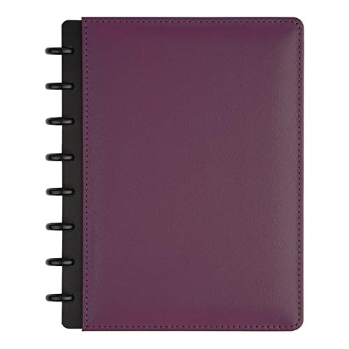 TUL Custom Note-Taking System Discbound Notebook, Junior Size, Leather Cover, Purple
